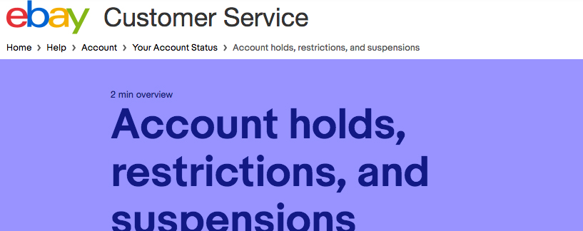 Eight Things That Get You Suspended On Ebay And How To Get Un Suspended